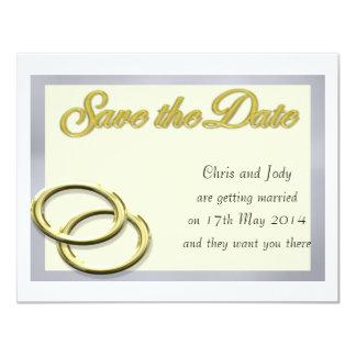 Ahorre los anillos de oro del boda de la fecha invitación 10,8 x 13,9 cm