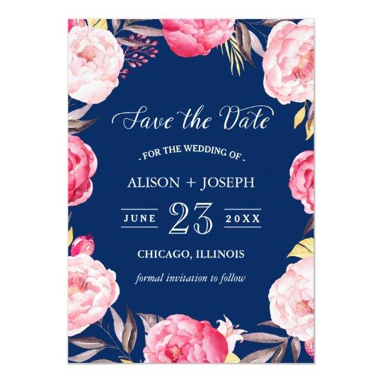 Ahorre los azules marinos florales botánicos de la invitación 12,7 x 17,8 cm
