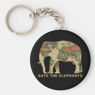 Ahorre los elefantes llavero redondo tipo chapa