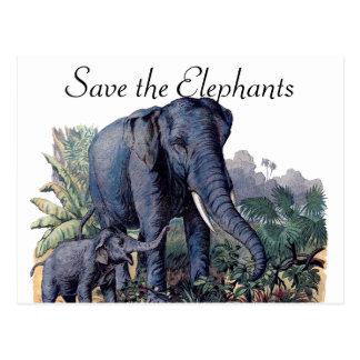 Ahorre los elefantes postal
