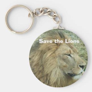 Ahorre los leones llavero redondo tipo chapa