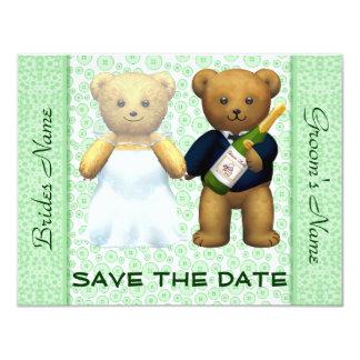 Ahorre los osos de peluche de la fecha que el invitación 10,8 x 13,9 cm