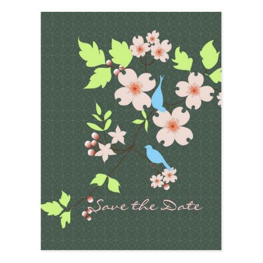 Ahorre los pájaros azules de la fecha dos en rama  tarjeta postal