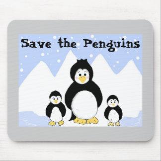 Ahorre los pingüinos alfombrilla de ratones