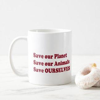 ahorre nuestros abrazos del león de los animales taza de café