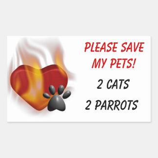 ¡Ahorre por favor a mis mascotas! Pegatina Rectangular