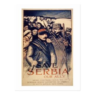 """""""Ahorre Serbia nuestro aliado"""", el poster, 1915 Postal"""