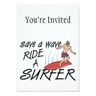 Ahorre un paseo de la onda una persona que invitación 12,7 x 17,8 cm