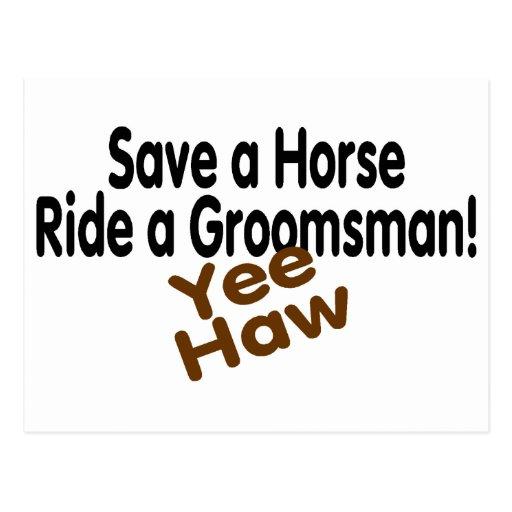 Ahorre un paseo del caballo un padrino de boda postal