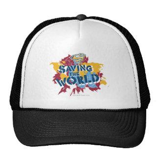 Ahorro del mundo con la pintura gorras de camionero
