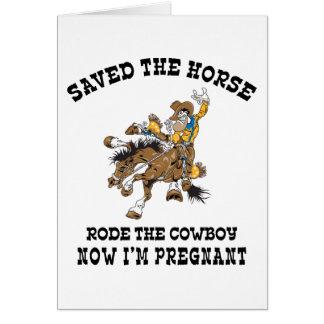 Ahorró el caballo montó al vaquero embarazada felicitacion