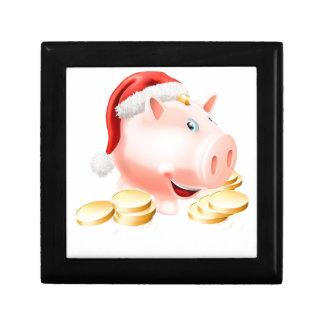 Ahorro para el concepto del navidad caja de regalo