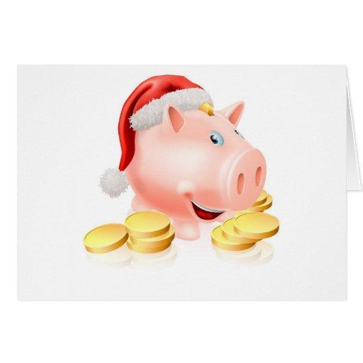 Ahorro para el concepto del navidad tarjeton