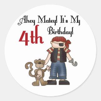 Ahoy 4tas camisetas y regalos del cumpleaños del etiquetas redondas
