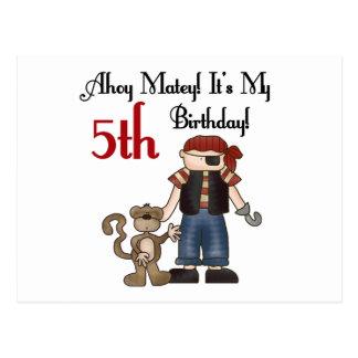 Ahoy 5to cumpleaños del pirata afable postal