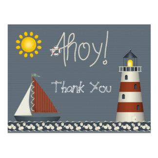 Ahoy el barco de vela y el faro le agradecen postal