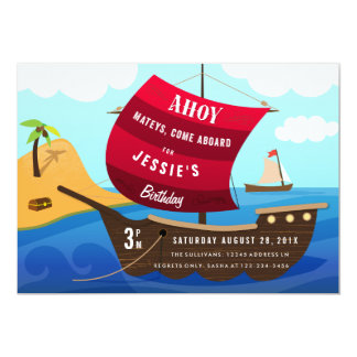 Ahoy el barco pirata de Mateys embroma la Invitación 12,7 X 17,8 Cm