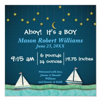 Ahoy, es un barco del MUCHACHO y protagoniza - la Invitación 13,3 Cm X 13,3cm
