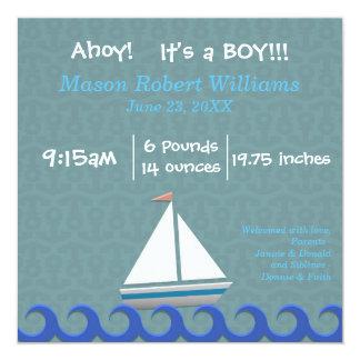 Ahoy, es un muchacho - invitación del nacimiento