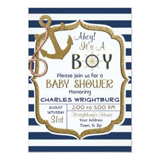 Ahoy es una invitación náutica del bebé del tema