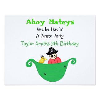Ahoy fiesta del pirata de Mateys Invitación 10,8 X 13,9 Cm