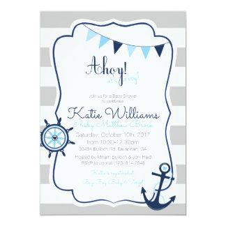 Ahoy invitación náutica de la tarjeta de la fiesta