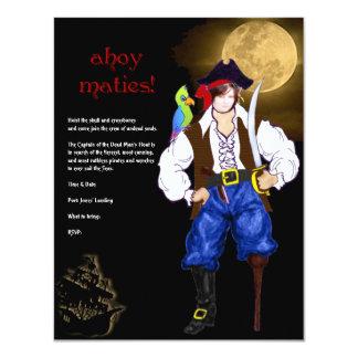 ¡Ahoy Maties! Fiesta de Halloween del pirata Invitación 10,8 X 13,9 Cm
