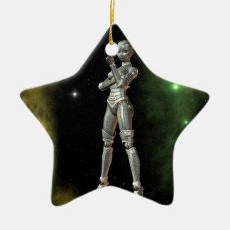 aikobot y estrellas adorno navideño de cerámica en forma de estrella