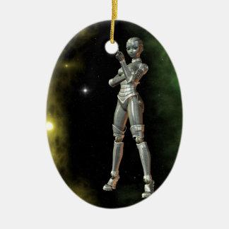 aikobot y estrellas adorno navideño ovalado de cerámica