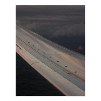 Airplane flying in sky wing in flight photo postal