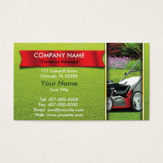 Ajardinar cuidado del césped del cortacésped tarjeta de negocios