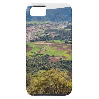 Ajardine el pueblo con las casas en el valle de funda para iPhone SE/5/5s