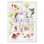 Ajo medicinal Notecard de la amapola del Echinacea