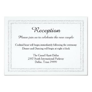 Ajuste-Recepción de plata blanca elegante Invition Invitación 8,9 X 12,7 Cm