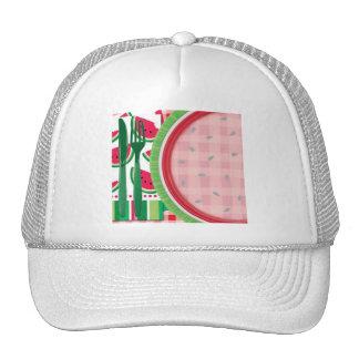Ajuste rojo y blanco de la tabla de la sandía gorras de camionero