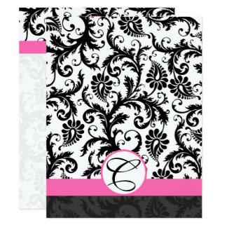 Ajuste Tarjeta-Negro de las rosas fuertes del Invitación 10,8 X 13,9 Cm