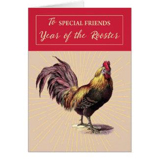 Al Año Nuevo chino de los amigos del gallo con de Tarjeta De Felicitación