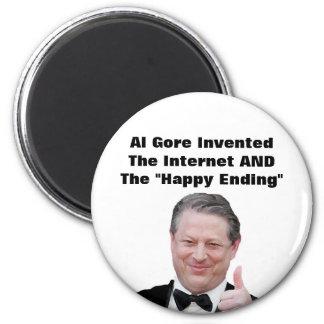 """Al Gore inventó la """"conclusión feliz """" Imán Redondo 5 Cm"""