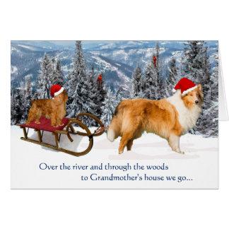 Al navidad de la casa de la abuela tarjeta de felicitación