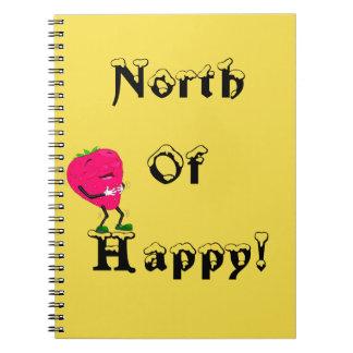 Al norte del diario feliz de la fresa del cuaderno