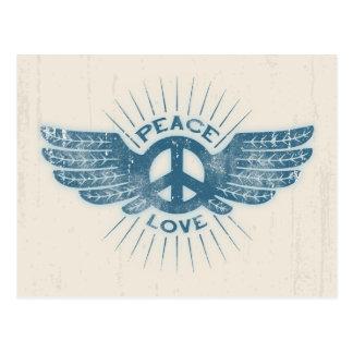 Ala del amor de la paz postal
