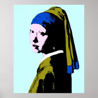 Ala del pendiente de la perla de Vermeer Póster