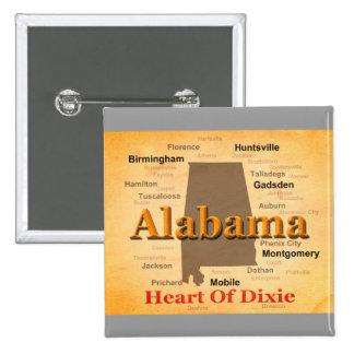Alabama envejeció la silueta del mapa chapa cuadrada