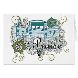 Alabanza con las notas musicales tarjeta de felicitación