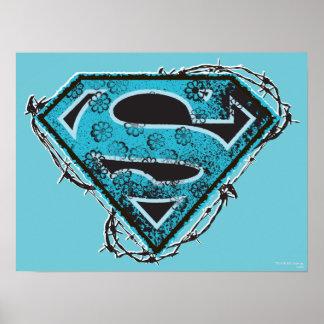 Alambre de púas y flores del logotipo de Supergirl Póster