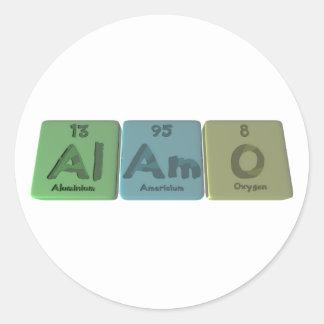 Álamo-Al-Ser-o-aluminio-americio-Oxígeno Pegatinas Redondas
