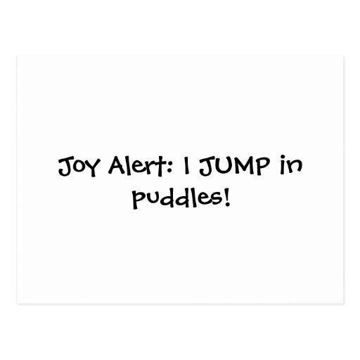Alarma de la alegría: ¡SALTO en charcos! Tarjeta Postal