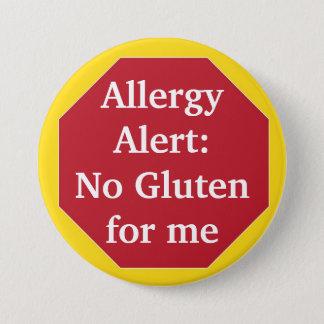 Alarma de la alergia:  Ningún gluten Chapa Redonda De 7 Cm
