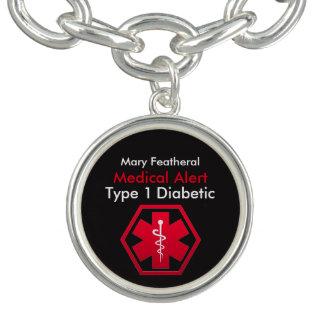 Alarma médica diabética personalizada del tipo 1 pulseras con dijer