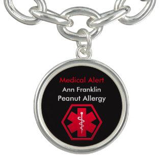 Alarma médica personalizada de la alergia del pulsera con dije
